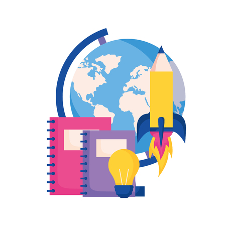 globe books rocket idea education school vector illustration Ilustrace