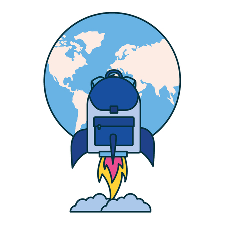 world rocket backpack education school vector illustration 일러스트