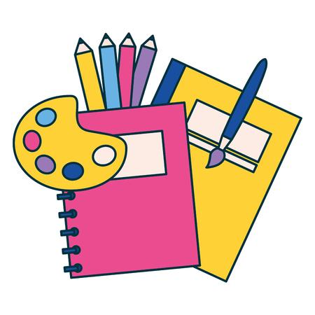 Bloc-notes palette de couleurs de l'école de l'éducation brosse vector illustration