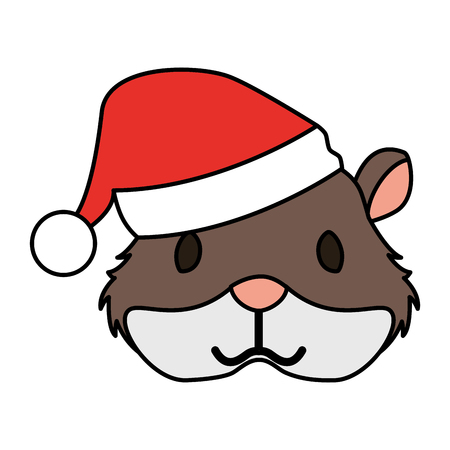 cute hamster with warm hat christmas vector illustration