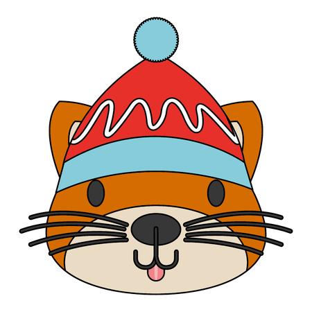 cute cat with warm hat christmas vector illustration Reklamní fotografie - 127601239