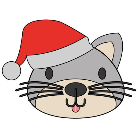 cute cat with warm hat christmas vector illustration Reklamní fotografie - 127601240