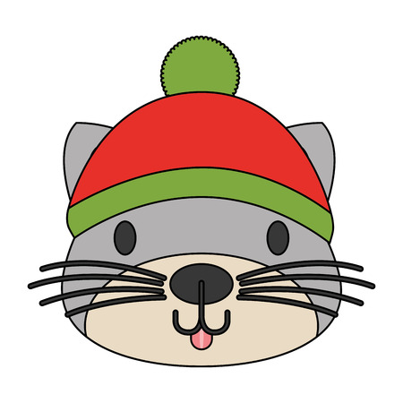 cute cat with warm hat christmas vector illustration Reklamní fotografie - 127601241