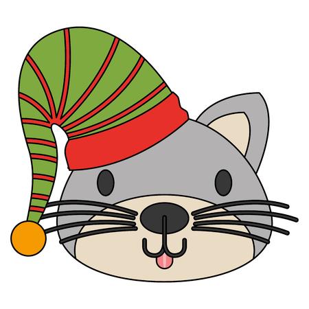 cute cat with warm hat christmas vector illustration Ilustração