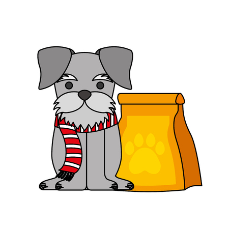 cute pet dog with food bag vector illustration