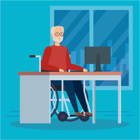 Disabled old man, health care assistance accessibility and help theme Colorful design Vector illustration Foto de archivo - 127601251