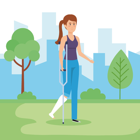 Disabled woman in park, health care assistance accessibility and help theme Colorful design Vector illustration Vecteurs