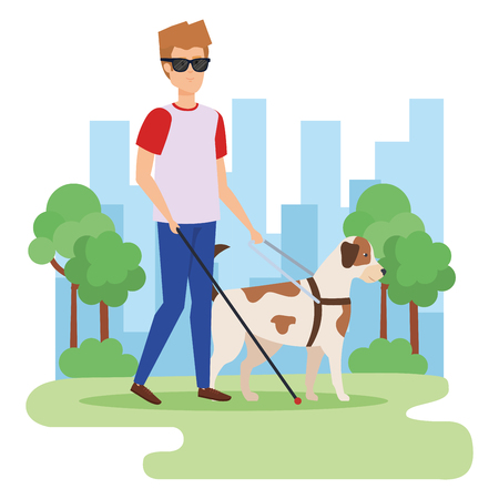 Disabled man in park, health care assistance accessibility and help theme Colorful design Vector illustration