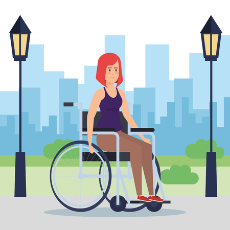 Disabled woman, health care assistance accessibility and help theme Colorful design Vector illustration 스톡 콘텐츠 - 127601260
