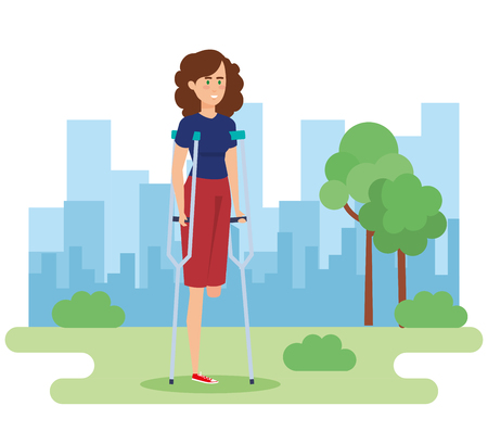 Disabled woman in park, health care assistance accessibility and help theme Colorful design Vector illustration