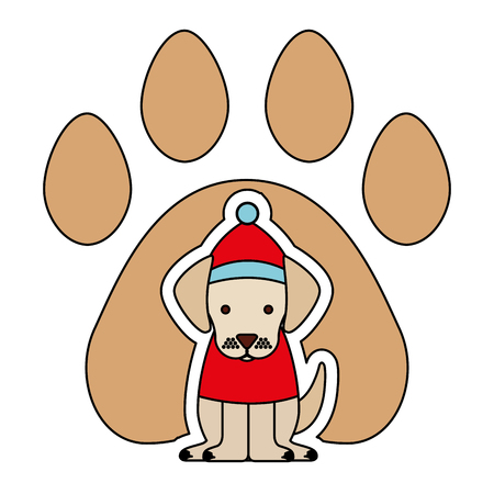 dog with hat paw background merry christmas vector illustration Archivio Fotografico - 112308291