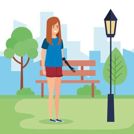Disabled woman in park, health care assistance accessibility and help theme Colorful design Vector illustration Foto de archivo - 127601264