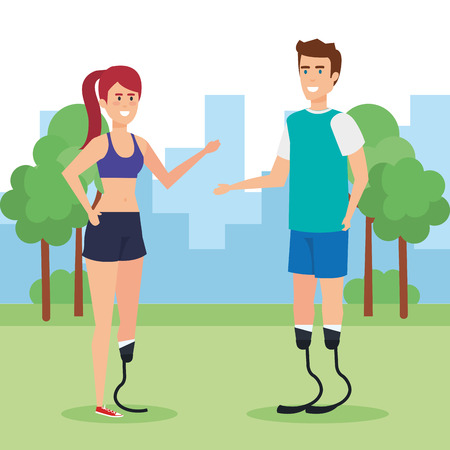 Disabled people in park, health care assistance accessibility and help theme Colorful design Vector illustration