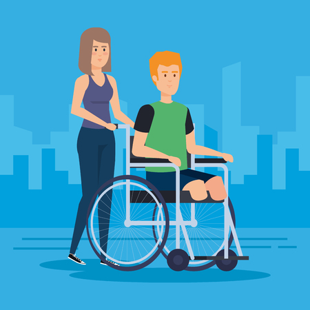 Disabled man, health care assistance accessibility and help theme Colorful design Vector illustration 스톡 콘텐츠 - 127601266