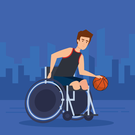 Disabled man, health care assistance accessibility and help theme Colorful design Vector illustration Stock Illustratie