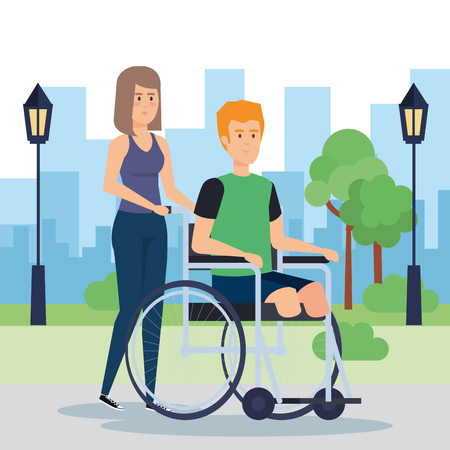 Disabled man, health care assistance accessibility and help theme Colorful design Vector illustration  イラスト・ベクター素材