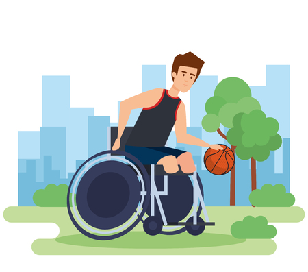Disabled man, health care assistance accessibility and help theme Colorful design Vector illustration Çizim