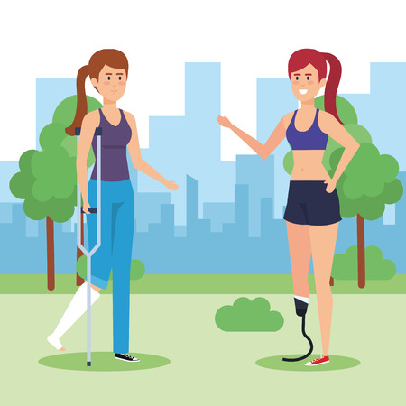 Disabled women in park, health care assistance accessibility and help theme Colorful design Vector illustration 일러스트