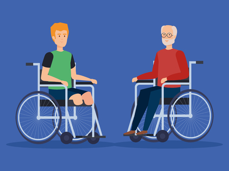 Disabled men, health care assistance accessibility and help theme Colorful design Vector illustration 스톡 콘텐츠 - 127601273