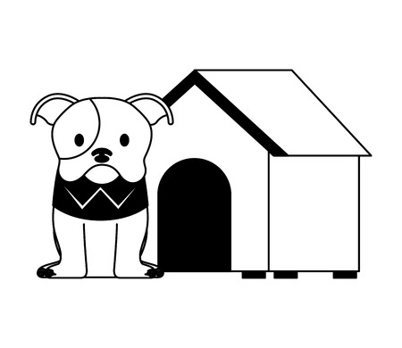 cute dog pet and house vector illustration Stock Illustratie