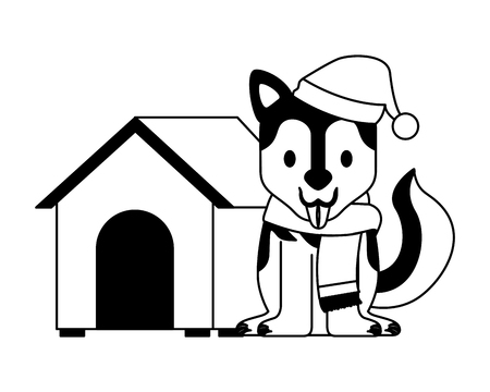 dog with winter hat and house merry christmas vector illustration