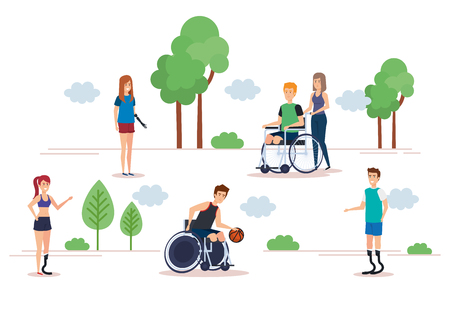 Disabled people set, health care assistance accessibility and help theme Colorful and Isolated design Vector illustration 스톡 콘텐츠 - 127601288