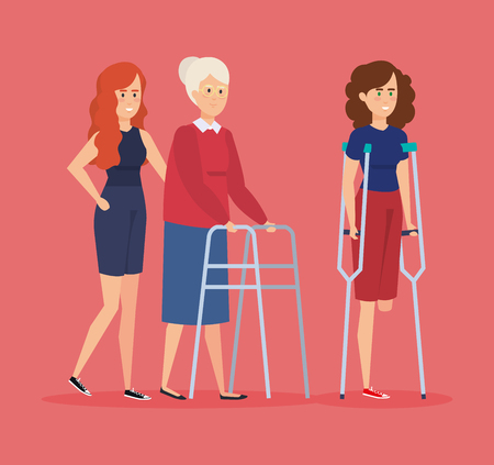 Disabled people, health care assistance accessibility and help theme Colorful design Vector illustration