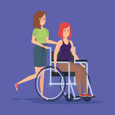 Disabled woman on wheelchair, Health care assistance and accessibility theme Colorful design Vector illustration 스톡 콘텐츠 - 112302643