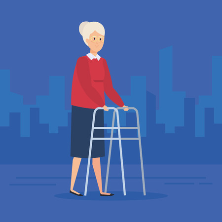 Disabled old woman, Health care assistance and accessibility theme Colorful design Vector illustration