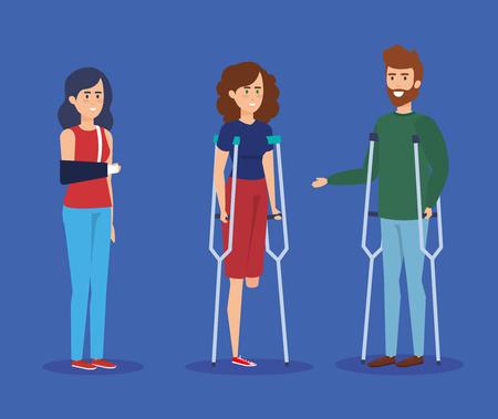 Personnes handicapées, accessibilité à l'aide aux soins de santé et thème d'aide Conception colorée Illustration vectorielle