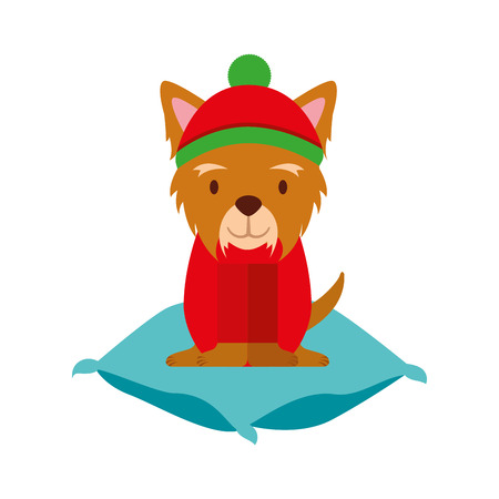 dog with hat on cushion merry christmas
