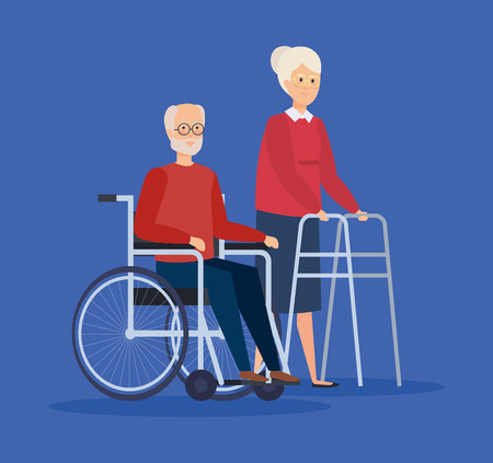 Disabled old woman and man, Health care assistance and accessibility theme Colorful design Vector illustration