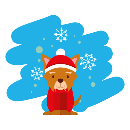 dog snowflake winter clothes christmas vector illustration vector illustration