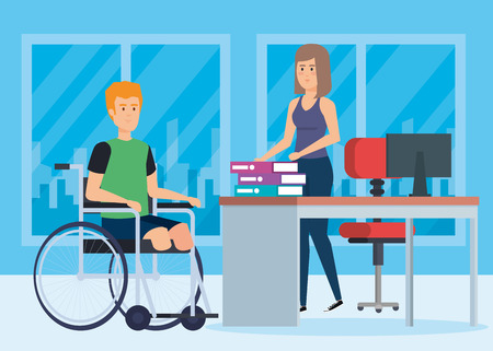 Disabled man, health care assistance accessibility and help theme Colorful design Vector illustration Illustration