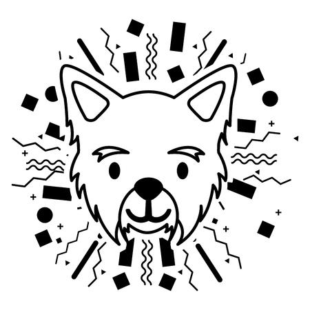 dog face party celebration confetti vector illustration