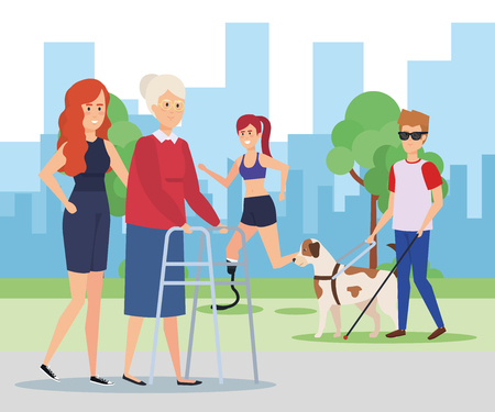 Disabled people in park, health care assistance accessibility and help theme Colorful design Vector illustration 스톡 콘텐츠 - 127601316
