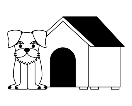 cute dog pet and house vector illustration Ilustrace