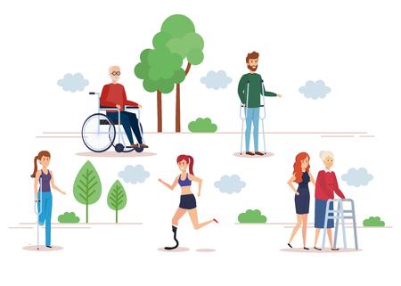 Ensemble de personnes handicapées, accessibilité à l'aide aux soins de santé et thème d'aide Conception colorée et isolée Illustration vectorielle