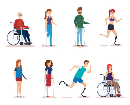 Disabled people set, health care assistance accessibility and help theme Colorful and Isolated design Vector illustration