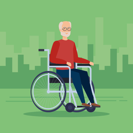 Disabled old man on wheelchair, Health care assistance and accessibility theme Colorful design Vector illustration