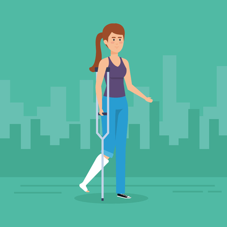 Woman with crutches, Disability health care assistance and accessibility theme Colorful design Vector illustration Foto de archivo - 127601329