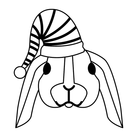 cute rabbit with warm hat christmas vector illustration