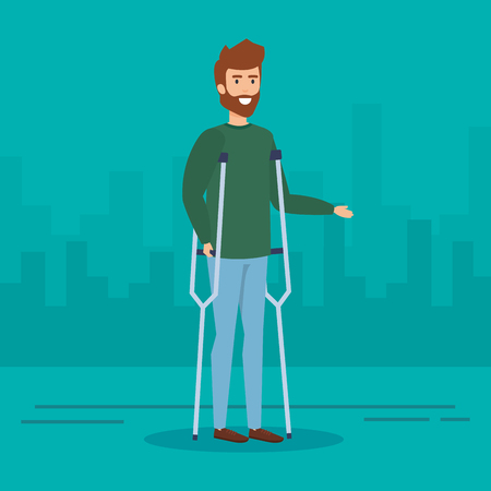 Man with crutches, Disability health care assistance and accessibility theme Colorful design Vector illustration