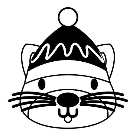 cute cat with warm hat christmas vector illustration Reklamní fotografie - 127601332
