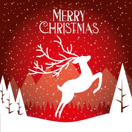 deer winter landscape merry christmas card vector illustration Archivio Fotografico - 127601334
