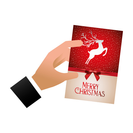 hand with greeting card merry christmas vector illustration