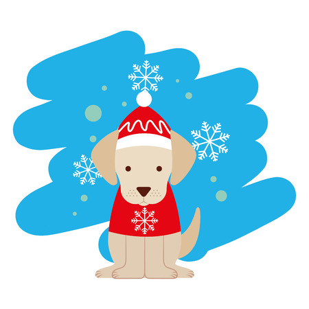 dog snowflake winter clothes christmas vector illustration vector illustration Archivio Fotografico - 127601340