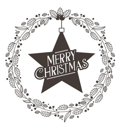 wreath star decoration merry christmas card vector illustration Illustration
