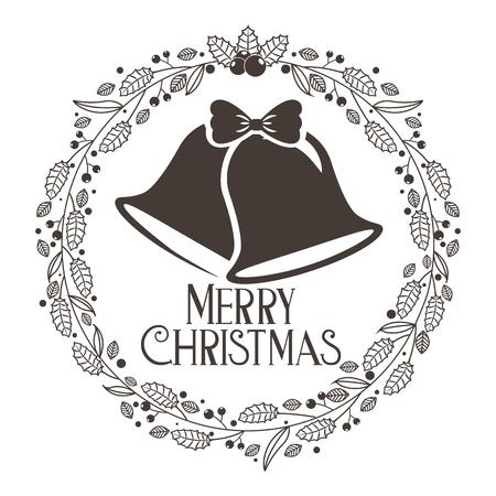 bells wreath decoration merry christmas card vector illustration 일러스트
