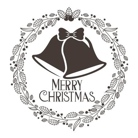bells wreath decoration merry christmas card vector illustration Illustration